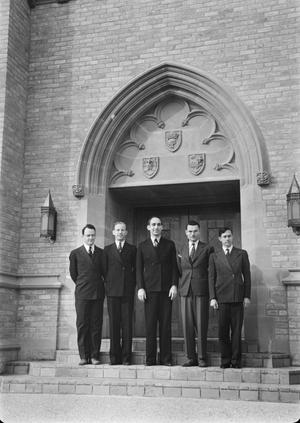 [Missionary Candidates Posing for a Group Photo Outside Shelton Chapel]