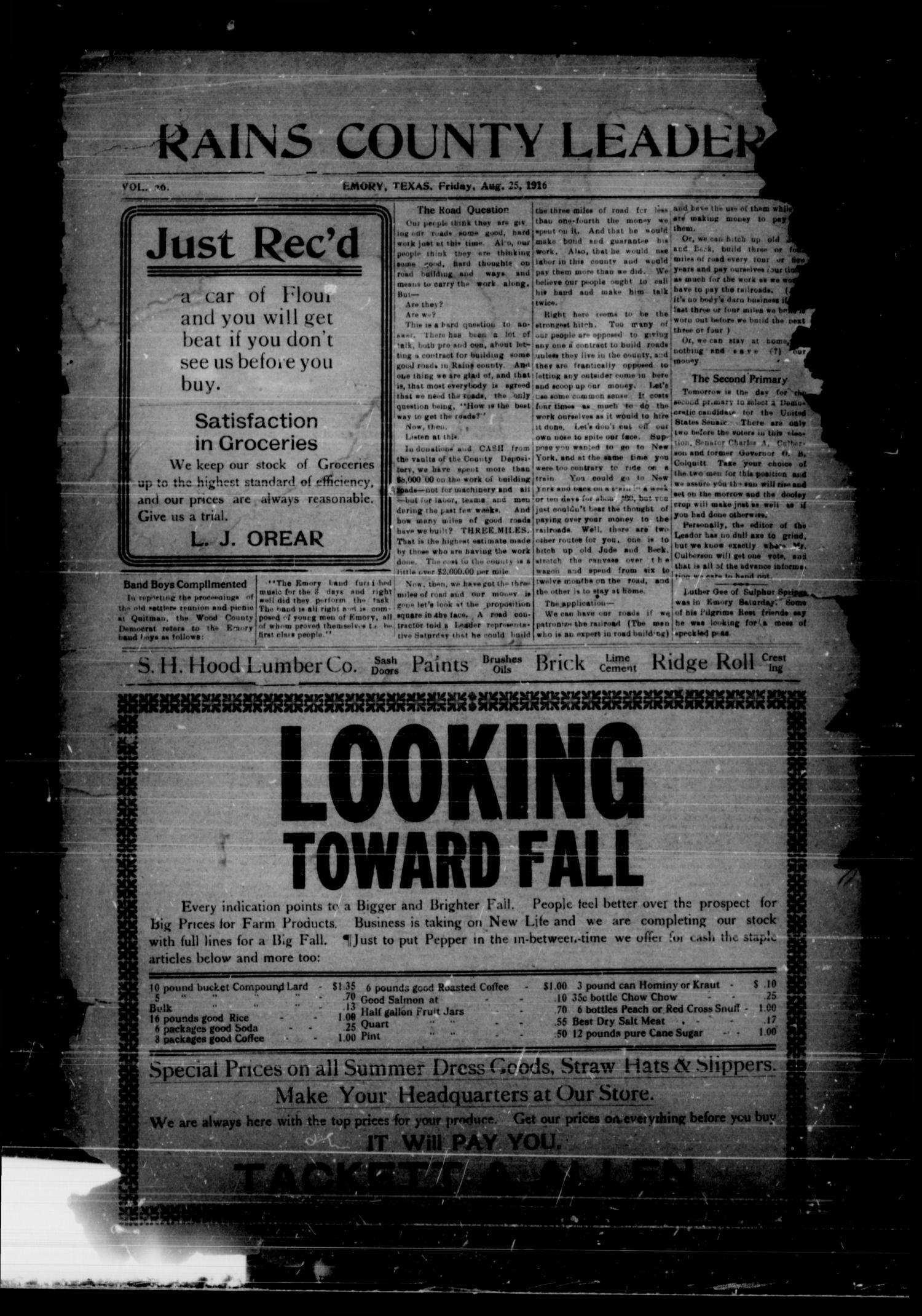 Rains County Leader Emory Tex Vol 26 No 34 Ed 1 Friday August 25 1916 The Portal To Texas History