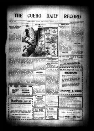 Primary view of object titled 'The Cuero Daily Record (Cuero, Tex.), Vol. 30, No. 3, Ed. 1 Sunday, July 4, 1909'.