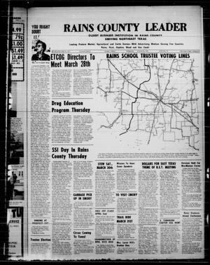 Primary view of object titled 'Rains County Leader (Emory, Tex.), Vol. 86, No. 42, Ed. 1 Thursday, March 28, 1974'.