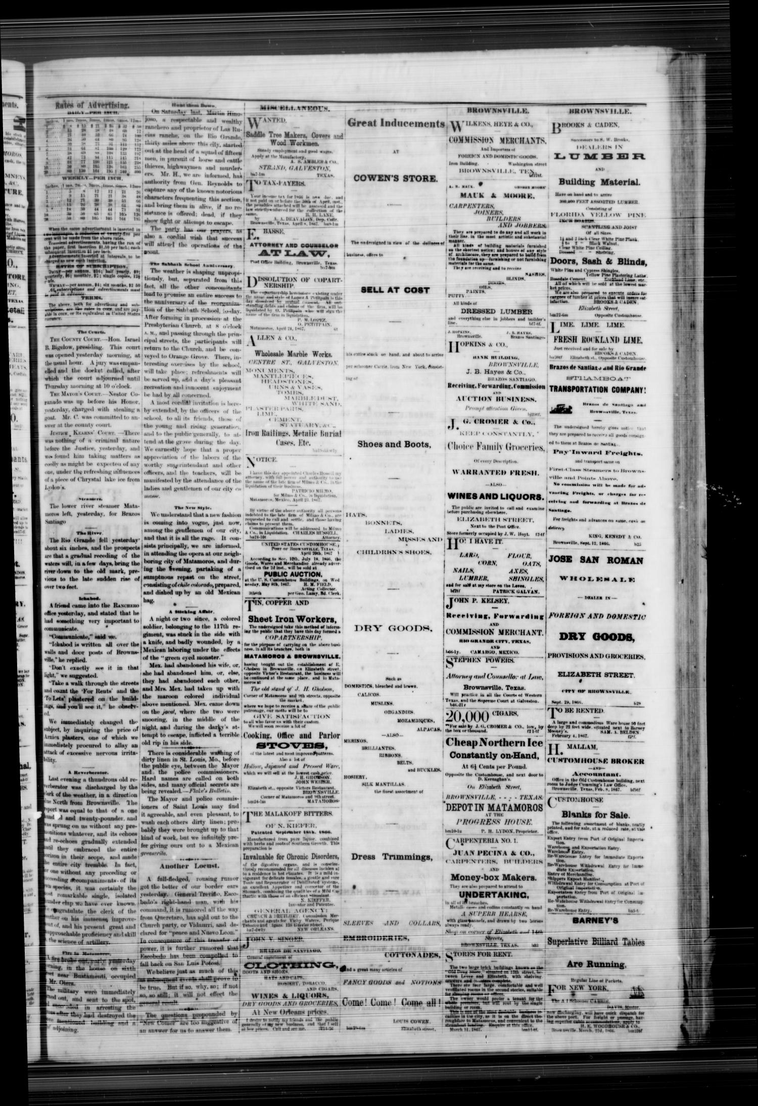 Daily Ranchero. (Brownsville, Tex.), Vol. 2, No. 207, Ed. 1 Wednesday, May 1, 1867                                                                                                      [Sequence #]: 3 of 4