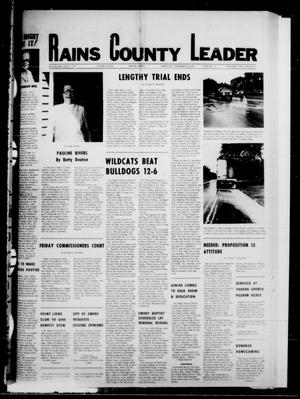 Primary view of object titled 'Rains County Leader (Emory, Tex.), Vol. 91, No. 16, Ed. 1 Thursday, September 21, 1978'.