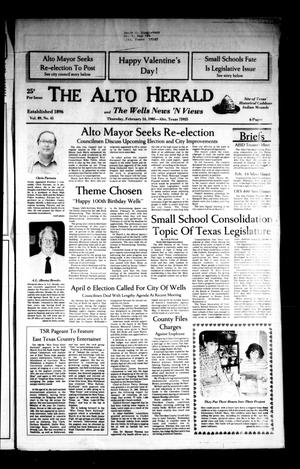 Primary view of object titled 'The Alto Herald and The Wells News 'N Views (Alto, Tex.), Vol. 89, No. 41, Ed. 1 Thursday, February 14, 1985'.