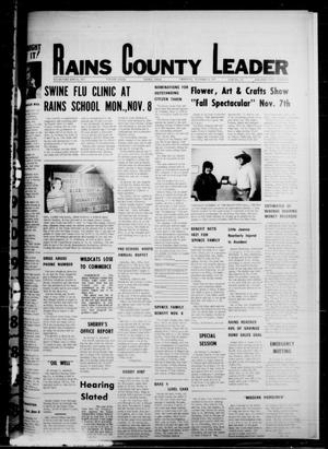 Primary view of object titled 'Rains County Leader (Emory, Tex.), Vol. 89, No. 22, Ed. 1 Thursday, November 4, 1976'.