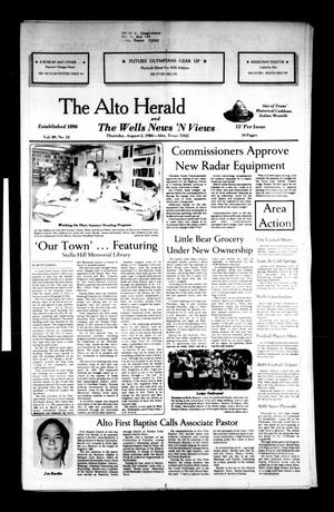 Primary view of object titled 'The Alto Herald and The Wells News 'N Views (Alto, Tex.), Vol. 89, No. 13, Ed. 1 Thursday, August 2, 1984'.
