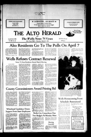The Alto Herald and The Wells News 'N Views (Alto, Tex.), Vol. 88, No. 45, Ed. 1 Thursday, March 15, 1984