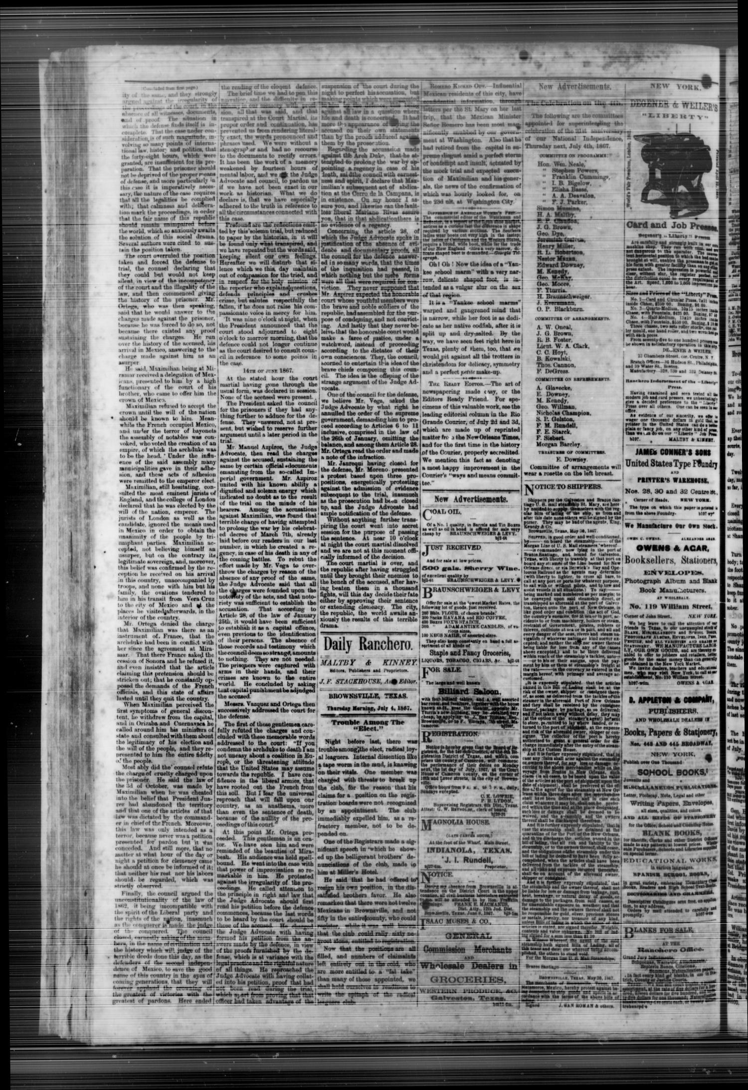 Daily Ranchero. (Brownsville, Tex.), Vol. 2, No. 262, Ed. 1 Thursday, July 4, 1867                                                                                                      [Sequence #]: 2 of 4