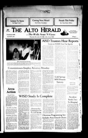 Primary view of object titled 'The Alto Herald and The Wells News 'N Views (Alto, Tex.), Vol. 90, No. 33, Ed. 1 Thursday, December 19, 1985'.