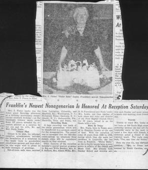 Primary view of object titled '[Newspaper clipping about Mrs. J. Fisher]'.