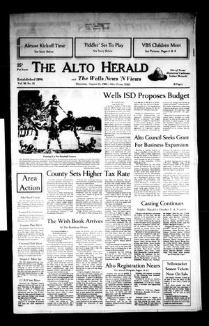 Primary view of object titled 'The Alto Herald and The Wells News 'N Views (Alto, Tex.), Vol. 90, No. 15, Ed. 1 Thursday, August 15, 1985'.