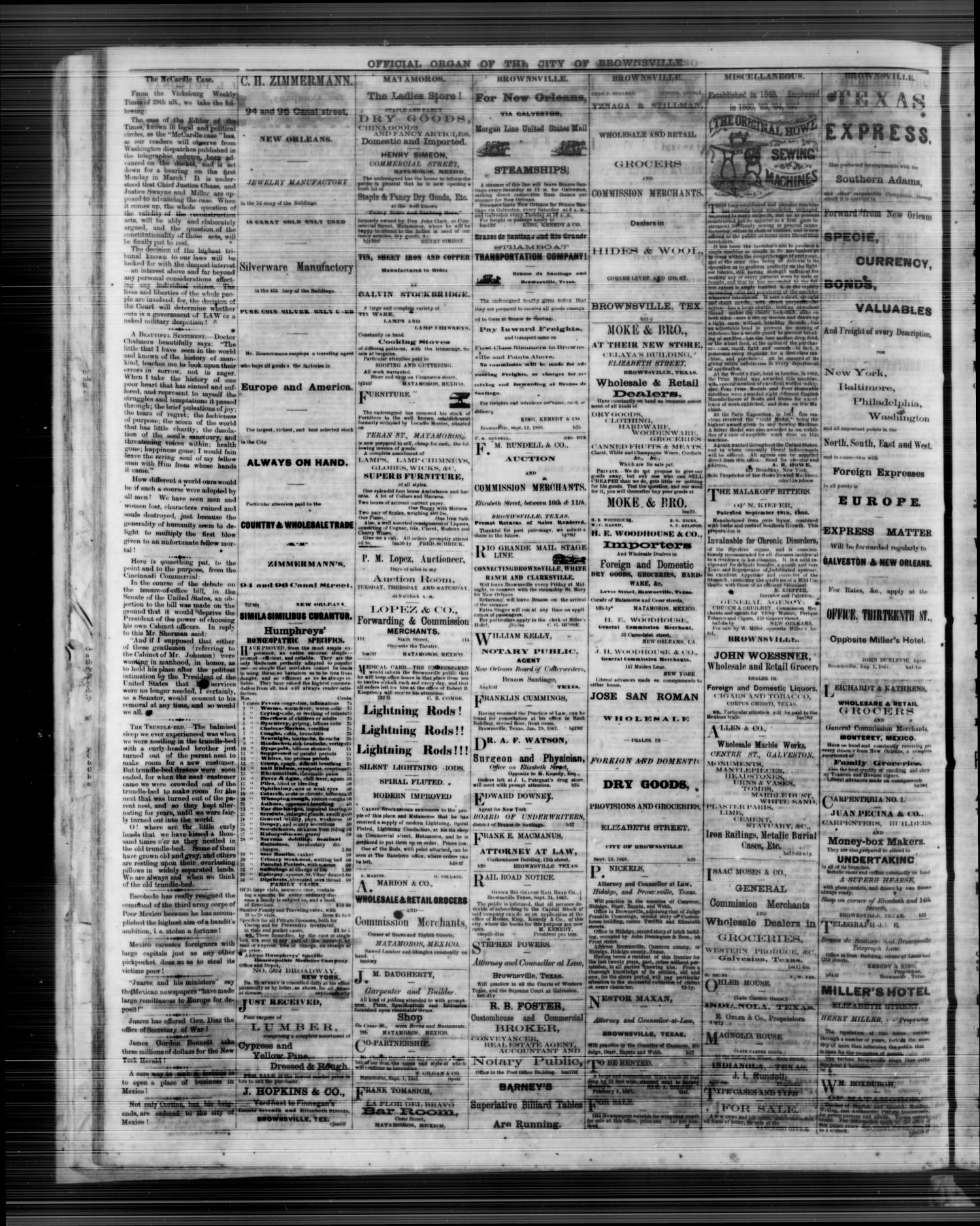 The Daily Ranchero. (Brownsville, Tex.), Vol. 3, No. 72, Ed. 1 Wednesday, February 12, 1868                                                                                                      [Sequence #]: 4 of 4