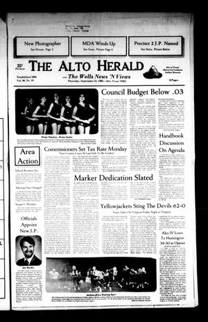 Primary view of object titled 'The Alto Herald and The Wells News 'N Views (Alto, Tex.), Vol. 90, No. 19, Ed. 1 Thursday, September 12, 1985'.