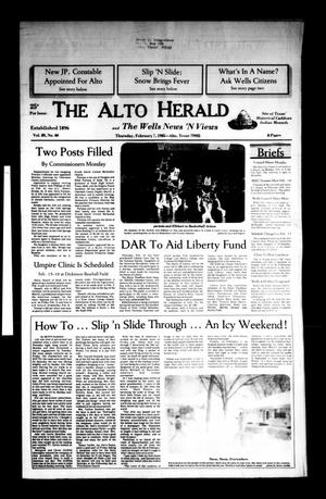 Primary view of object titled 'The Alto Herald and The Wells News 'N Views (Alto, Tex.), Vol. 89, No. 40, Ed. 1 Thursday, February 7, 1985'.