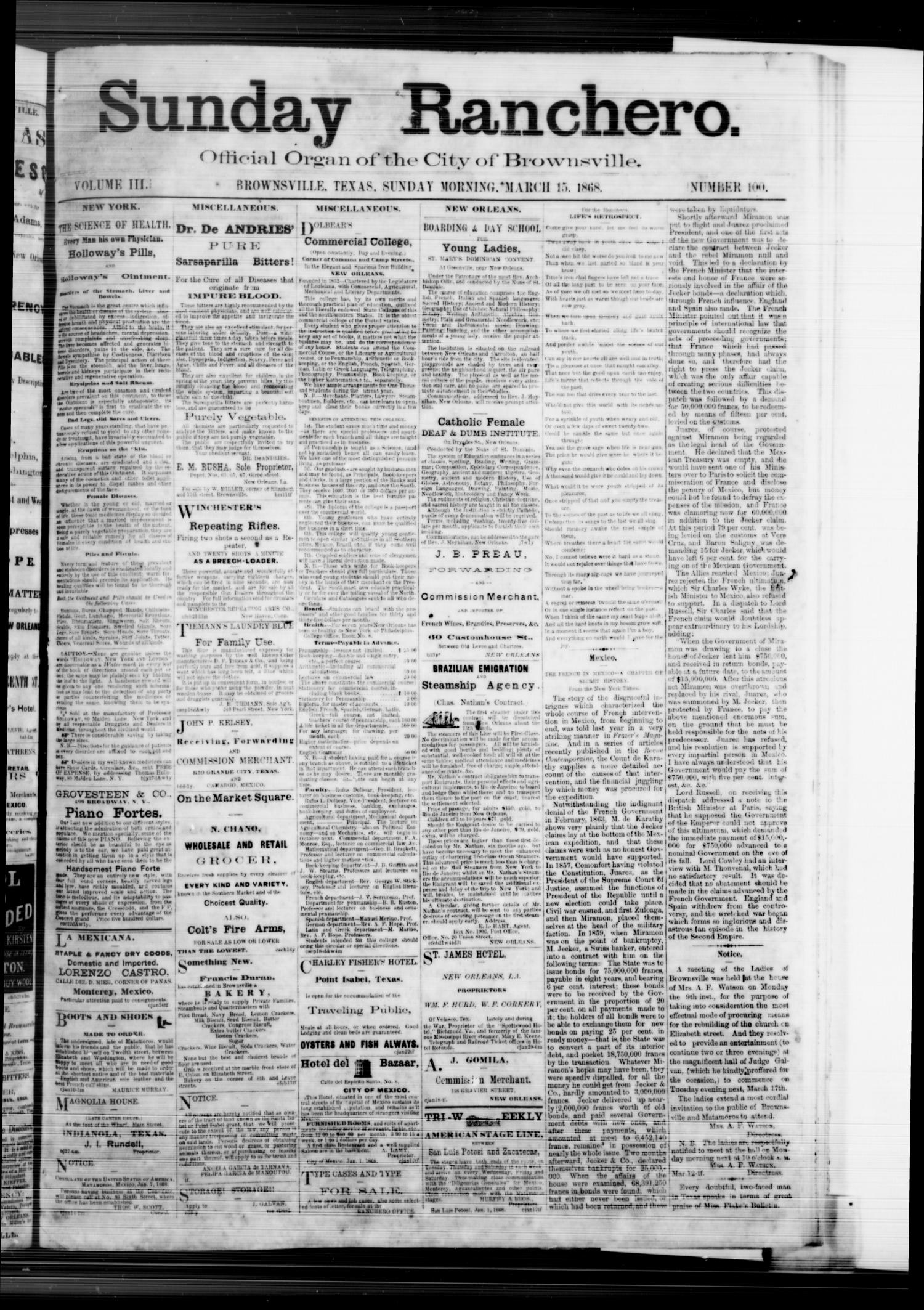 Sunday Ranchero. (Brownsville, Tex.), Vol. 3, No. 100, Ed. 1 Sunday, March 15, 1868                                                                                                      [Sequence #]: 1 of 8