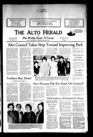 Primary view of object titled 'The Alto Herald and The Wells News 'N Views (Alto, Tex.), Vol. 88, No. 44, Ed. 1 Thursday, March 8, 1984'.