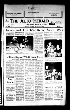 Primary view of object titled 'The Alto Herald and The Wells News 'N Views (Alto, Tex.), Vol. 89, No. 27, Ed. 1 Thursday, November 8, 1984'.