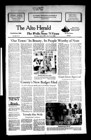 Primary view of object titled 'The Alto Herald and The Wells News 'N Views (Alto, Tex.), Vol. 89, No. 9, Ed. 1 Thursday, July 5, 1984'.