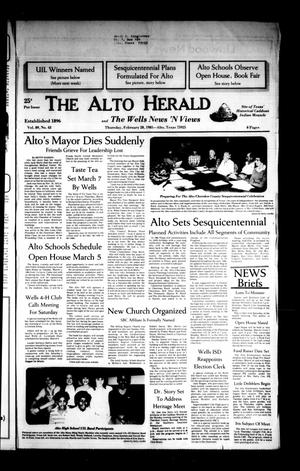 Primary view of object titled 'The Alto Herald and The Wells News 'N Views (Alto, Tex.), Vol. 89, No. 43, Ed. 1 Thursday, February 28, 1985'.