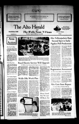 Primary view of object titled 'The Alto Herald and The Wells News 'N Views (Alto, Tex.), Vol. 89, No. 14, Ed. 1 Thursday, August 9, 1984'.