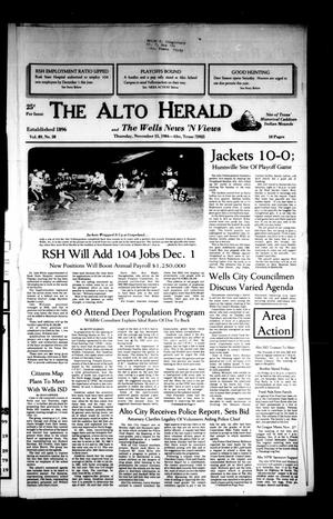 Primary view of object titled 'The Alto Herald and The Wells News 'N Views (Alto, Tex.), Vol. 89, No. 28, Ed. 1 Thursday, November 15, 1984'.