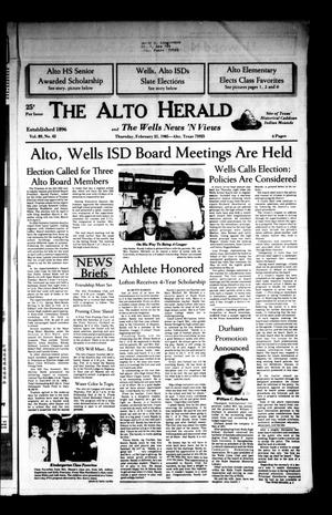 Primary view of object titled 'The Alto Herald and The Wells News 'N Views (Alto, Tex.), Vol. 89, No. 42, Ed. 1 Thursday, February 21, 1985'.