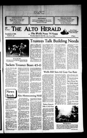 Primary view of object titled 'The Alto Herald and The Wells News 'N Views (Alto, Tex.), Vol. 89, No. 20, Ed. 1 Thursday, September 20, 1984'.
