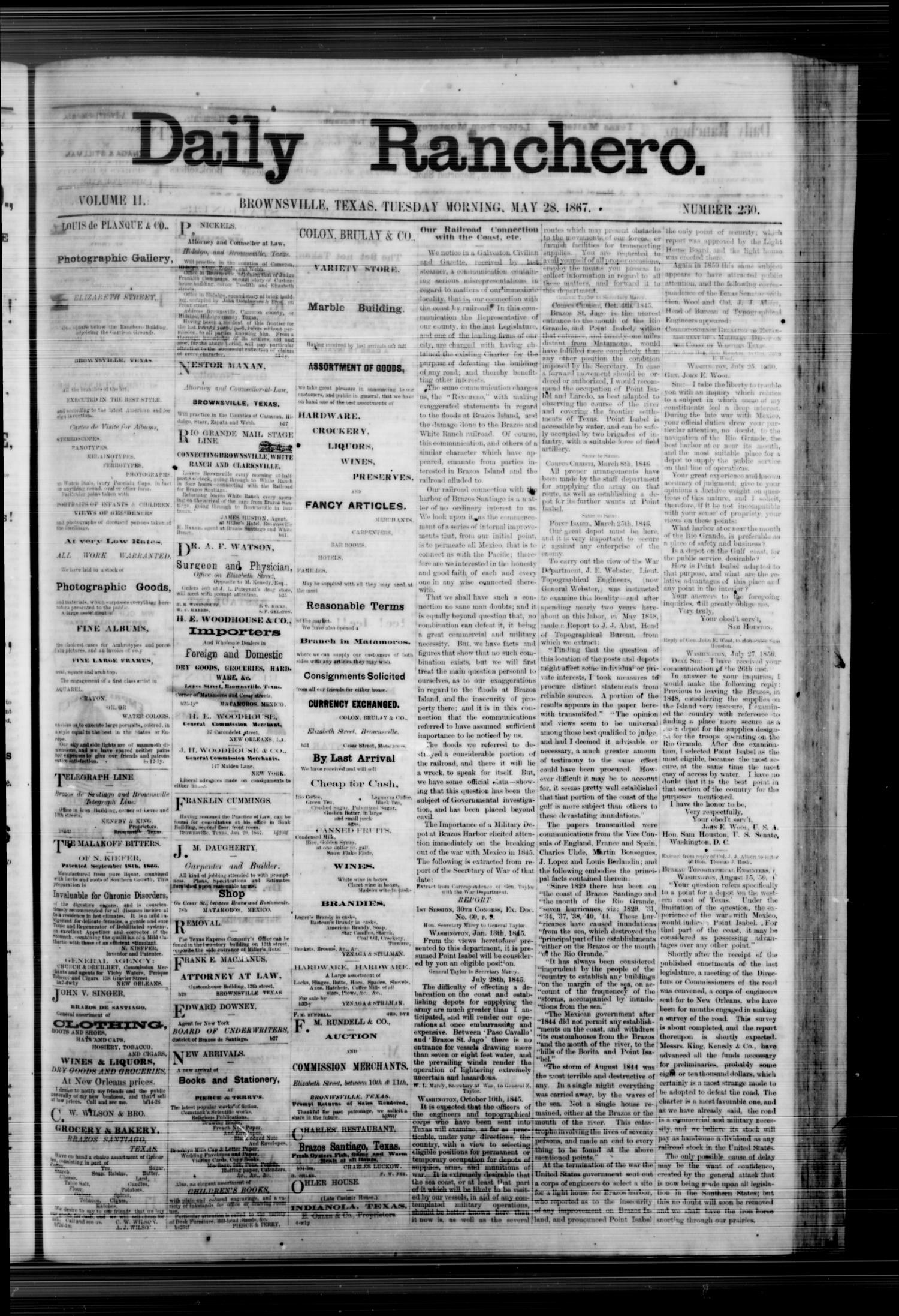 Daily Ranchero. (Brownsville, Tex.), Vol. 2, No. 230, Ed. 1 Tuesday, May 28, 1867                                                                                                      [Sequence #]: 1 of 4