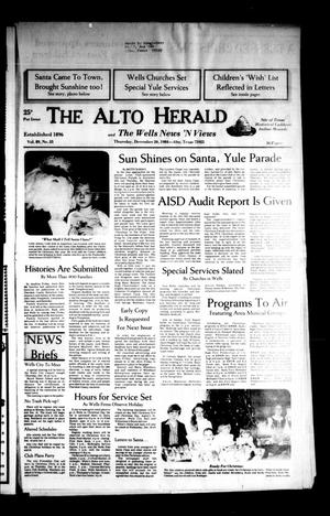 Primary view of object titled 'The Alto Herald and The Wells News 'N Views (Alto, Tex.), Vol. 89, No. 33, Ed. 1 Thursday, December 20, 1984'.
