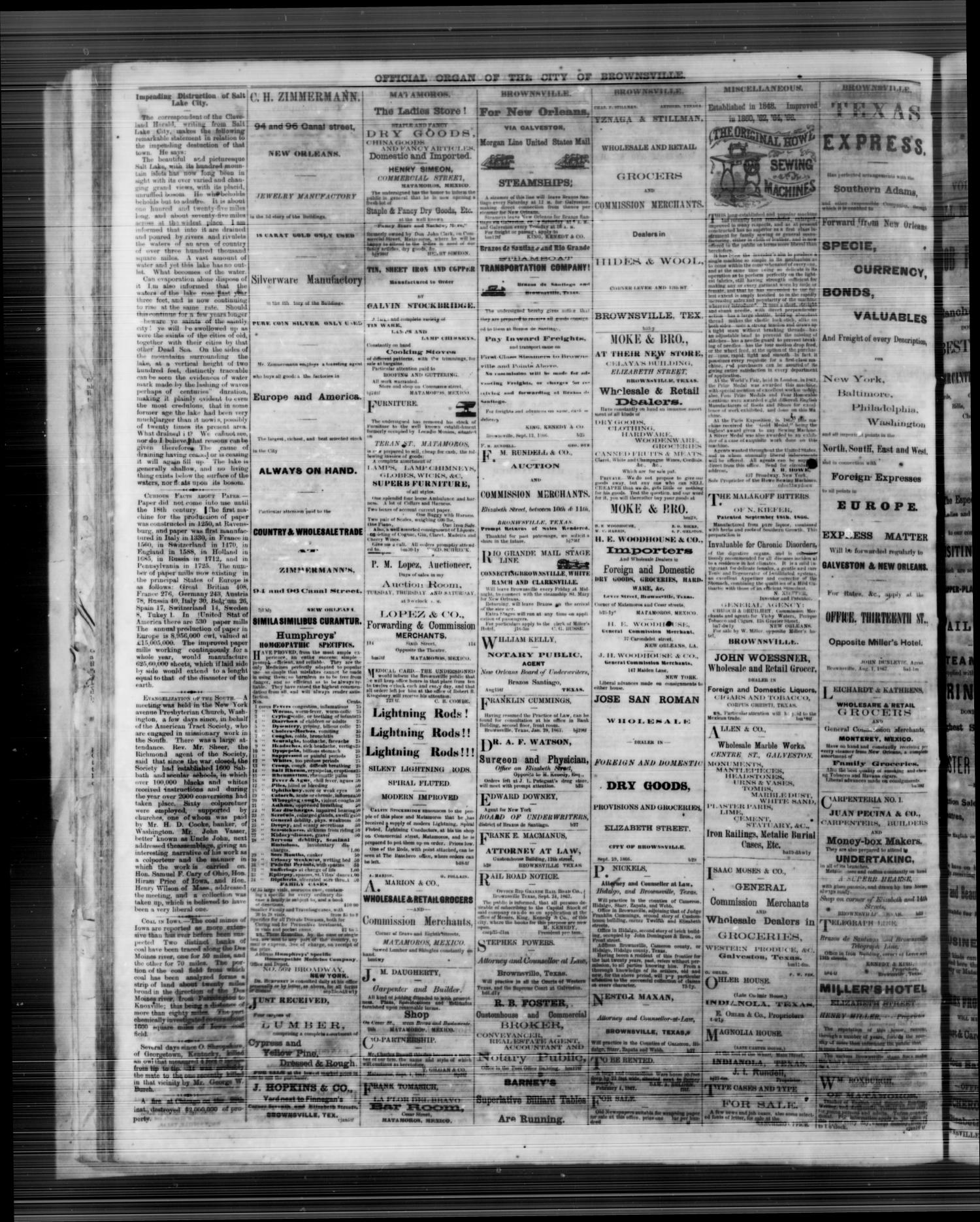 The Daily Ranchero. (Brownsville, Tex.), Vol. 3, No. 79, Ed. 1 Thursday, February 20, 1868                                                                                                      [Sequence #]: 4 of 4