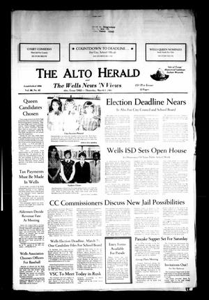 Primary view of object titled 'The Alto Herald and The Wells News 'N Views (Alto, Tex.), Vol. 88, No. 43, Ed. 1 Thursday, March 1, 1984'.