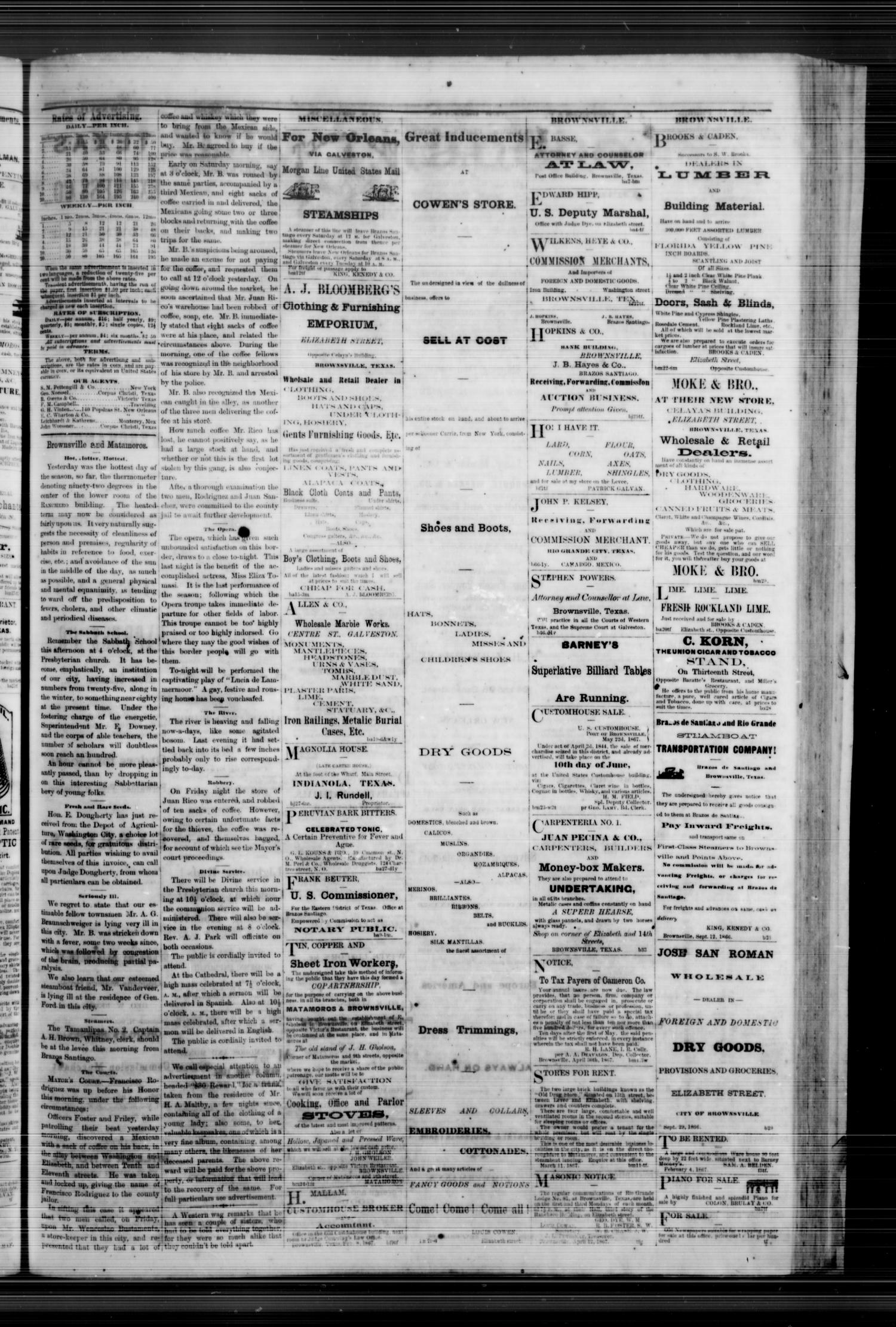 Daily Ranchero. (Brownsville, Tex.), Vol. 2, No. 229, Ed. 1 Sunday, May 26, 1867                                                                                                      [Sequence #]: 3 of 4
