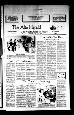Primary view of object titled 'The Alto Herald and The Wells News 'N Views (Alto, Tex.), Vol. 89, No. 16, Ed. 1 Thursday, August 23, 1984'.