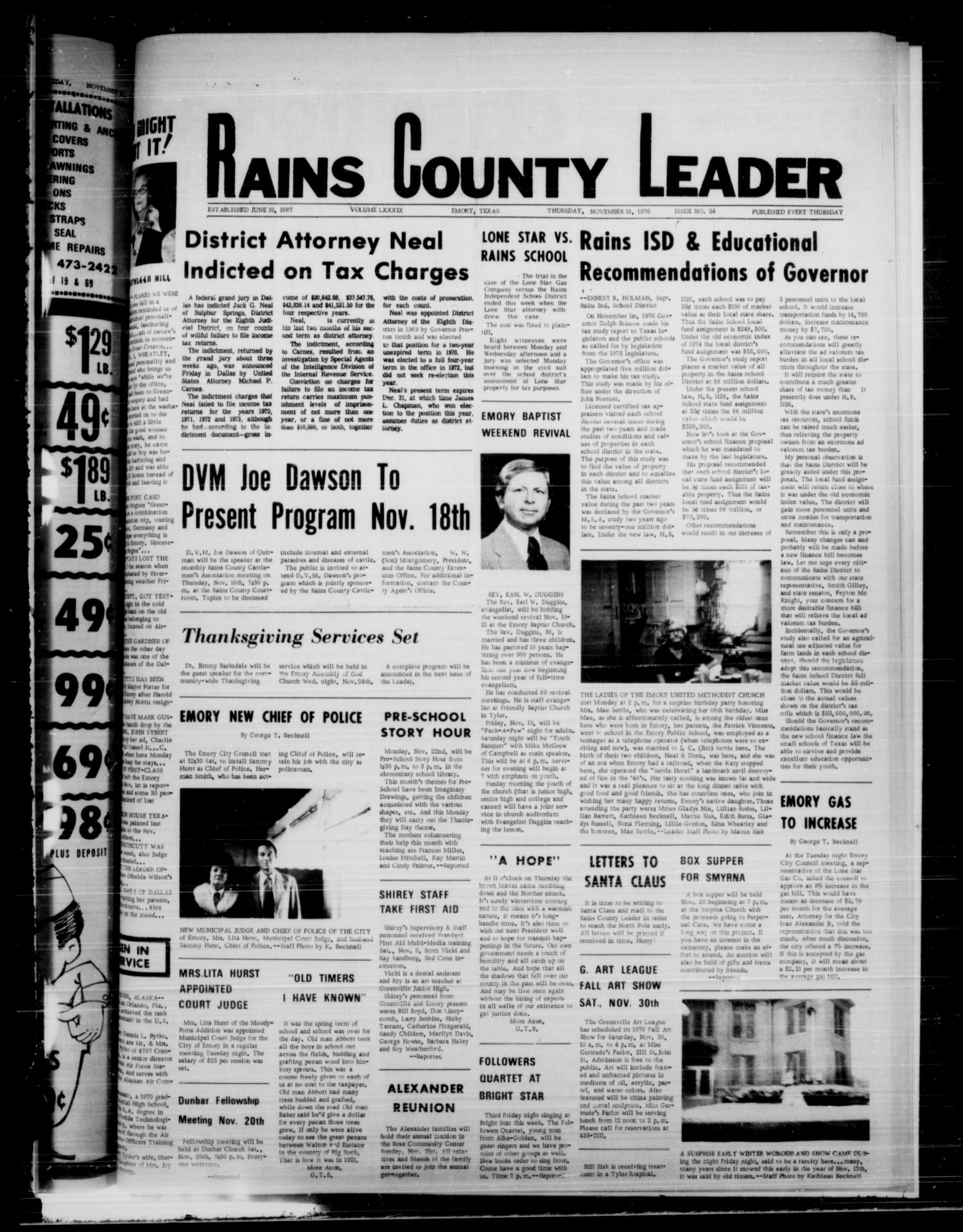 Rains County Leader (Emory, Tex.), Vol. 89, No. 24, Ed. 1 Thursday, November 18, 1976                                                                                                      [Sequence #]: 1 of 10