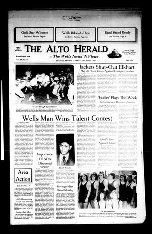 Primary view of object titled 'The Alto Herald and The Wells News 'N Views (Alto, Tex.), Vol. 90, No. 22, Ed. 1 Thursday, October 3, 1985'.