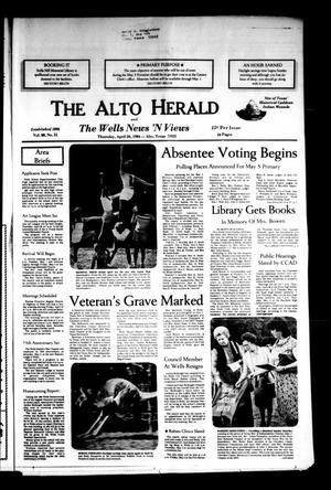 Primary view of object titled 'The Alto Herald and The Wells News 'N Views (Alto, Tex.), Vol. 88, No. 51, Ed. 1 Thursday, April 26, 1984'.