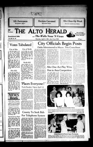 Primary view of object titled 'The Alto Herald and The Wells News 'N Views (Alto, Tex.), Vol. 89, No. 49, Ed. 1 Thursday, April 11, 1985'.