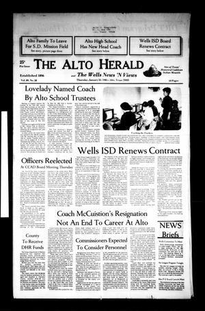 Primary view of object titled 'The Alto Herald and The Wells News 'N Views (Alto, Tex.), Vol. 89, No. 38, Ed. 1 Thursday, January 24, 1985'.