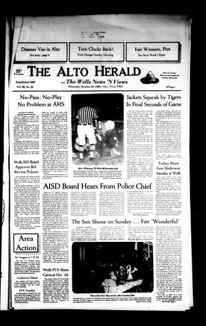 Primary view of object titled 'The Alto Herald and The Wells News 'N Views (Alto, Tex.), Vol. 90, No. 25, Ed. 1 Thursday, October 24, 1985'.