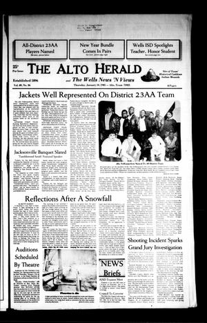 Primary view of object titled 'The Alto Herald and The Wells News 'N Views (Alto, Tex.), Vol. 89, No. 36, Ed. 1 Thursday, January 10, 1985'.