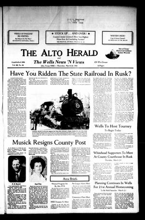 Primary view of object titled 'The Alto Herald and The Wells News 'N Views (Alto, Tex.), Vol. 88, No. 46, Ed. 1 Thursday, March 22, 1984'.