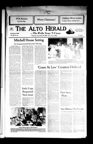 Primary view of object titled 'The Alto Herald and The Wells News 'N Views (Alto, Tex.), Vol. 90, No. 34, Ed. 1 Thursday, December 26, 1985'.