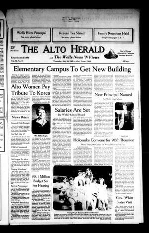 Primary view of object titled 'The Alto Herald and The Wells News 'N Views (Alto, Tex.), Vol. 90, No. 11, Ed. 1 Thursday, July 18, 1985'.