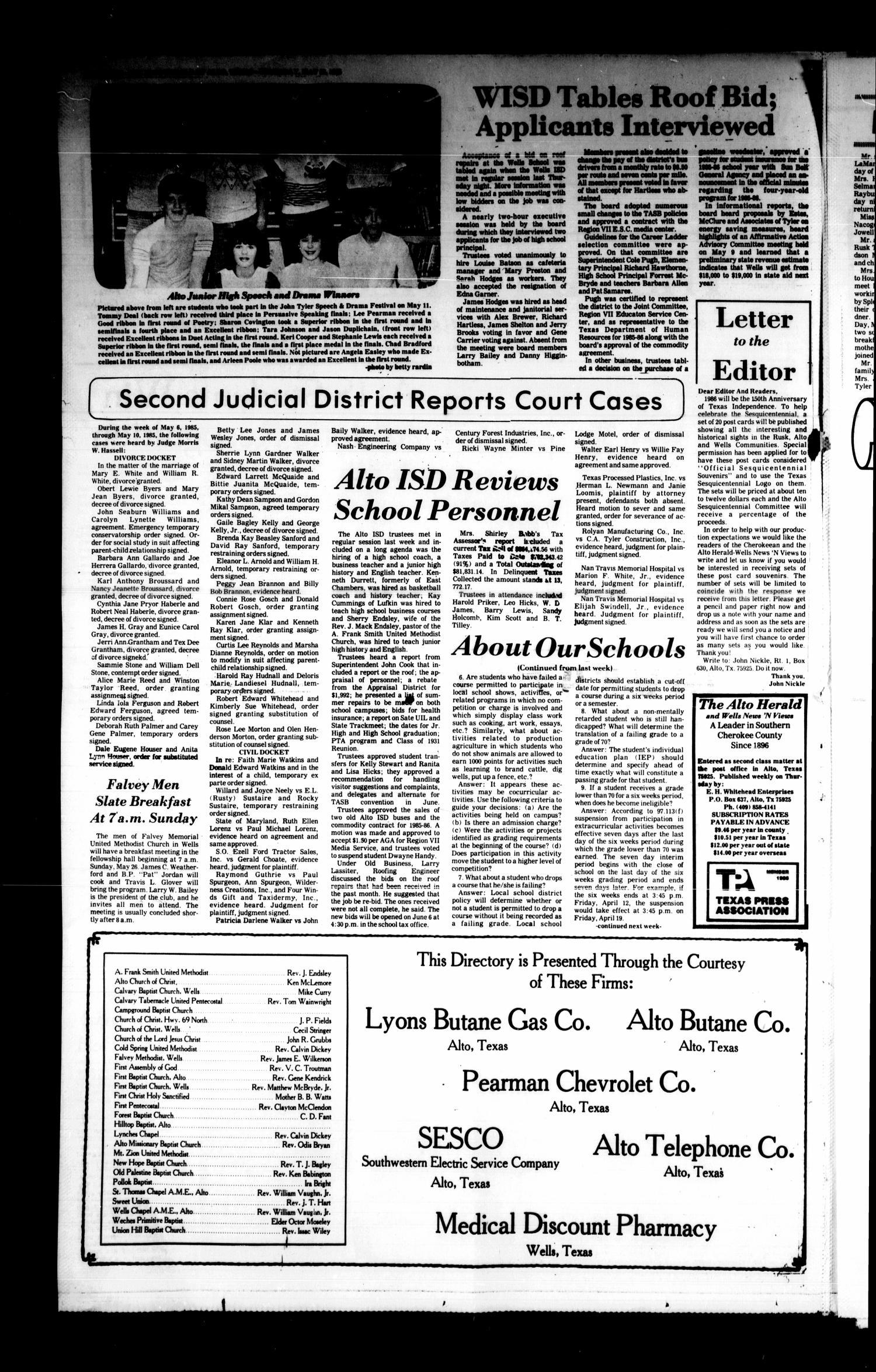 The Alto Herald And The Wells News N Views Alto Tex Vol 90