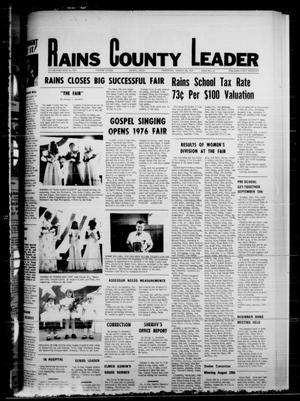 Primary view of object titled 'Rains County Leader (Emory, Tex.), Vol. 89, No. 12, Ed. 1 Thursday, August 26, 1976'.