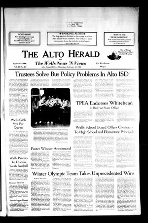 Primary view of object titled 'The Alto Herald and The Wells News 'N Views (Alto, Tex.), Vol. 88, No. 42, Ed. 1 Thursday, February 23, 1984'.