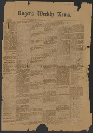 Rogers Weekly News. (Rogers, Tex.), Vol. 25, No. 31, Ed. 1 Friday, November 1, 1918