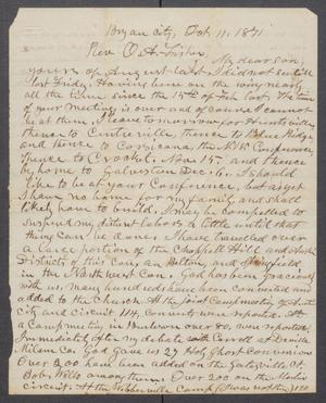 Primary view of object titled '[Letter to Orceneth Asbury Fisher, from Orceneth Fisher]'.