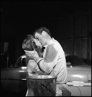 """[Photograph of actors kissing on set of """"Stakeout!""""]"""