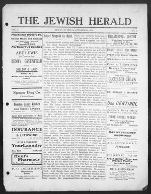 Primary view of object titled 'The Jewish Herald (Houston, Tex.), Vol. 1, No. 4, Ed. 1, Thursday, October 15, 1908'.