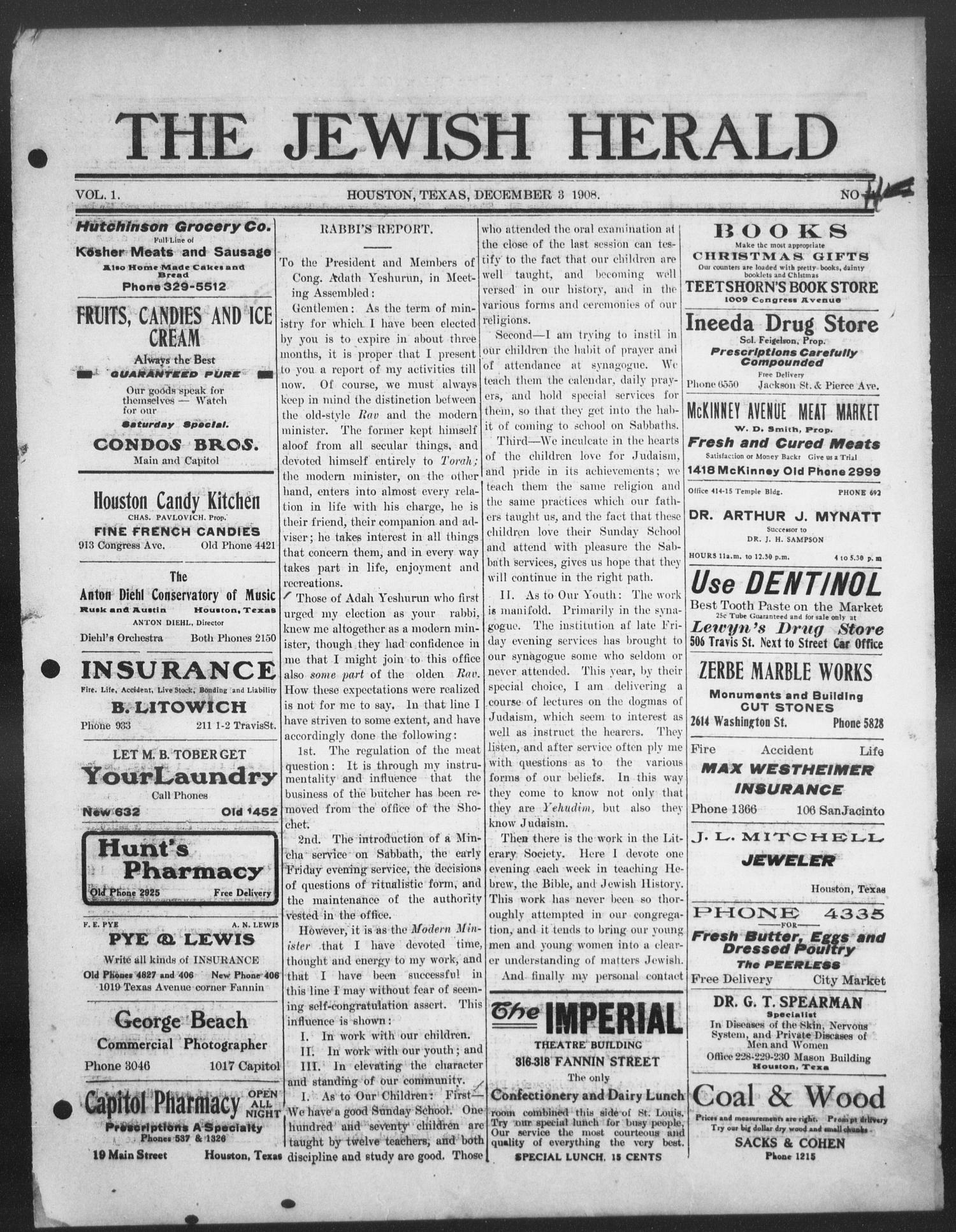 The Jewish Herald (Houston, Tex.), Vol. 1, No. 11, Ed. 1, Thursday, December 3, 1908                                                                                                      [Sequence #]: 1 of 8